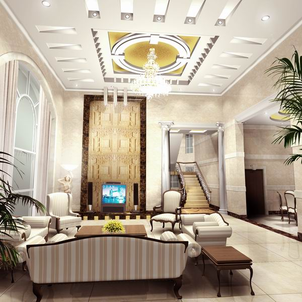 Luxury-vast-living-room-interior-with-crystal-chandelier-and-modern-ceiling